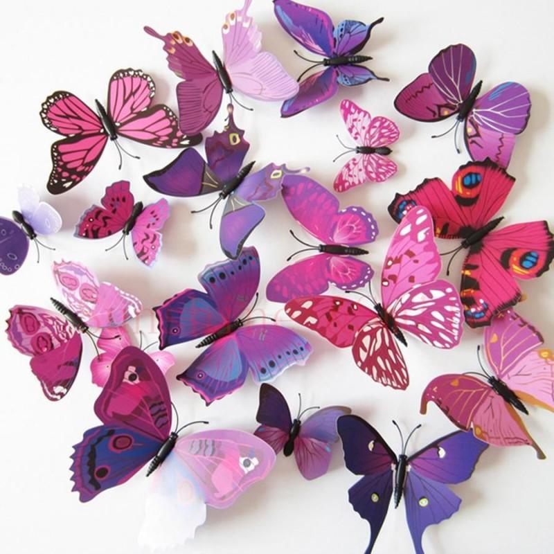 3D motýlci na zeď Fialová