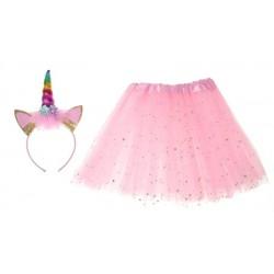 Dětský kostým růžová sukně s čelenkou jednorožec