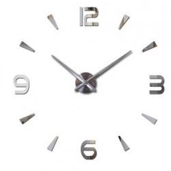 Designové 3D nalepovací hodiny 12 cm stříbrné
