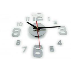Designové 3D nalepovací hodiny zrcadlo 130 cm stříbrné