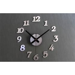 Designové 3D nalepovací hodiny 130 cm stříbrné