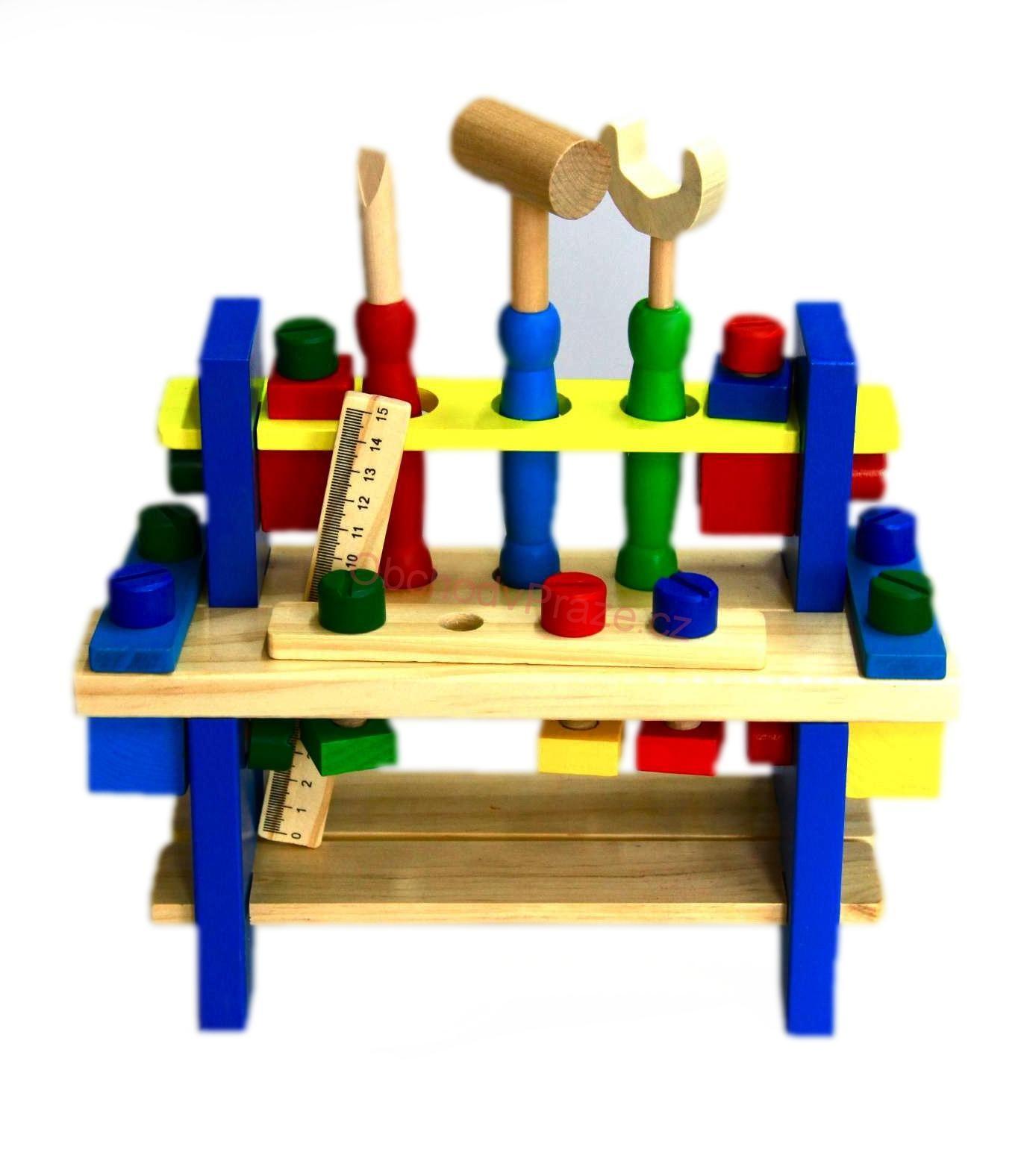 Velká dřevěná sada se stojanem a nářadím Combines the tool wooden toys