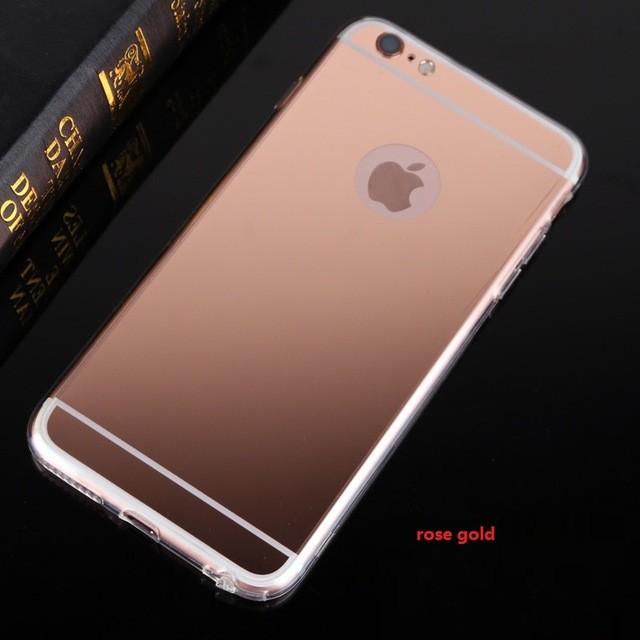Luxury iPhone 6 6s 7 silikonový kryt se zrcadlem - iPhone Plus 6 6S / Růžovo zlatá