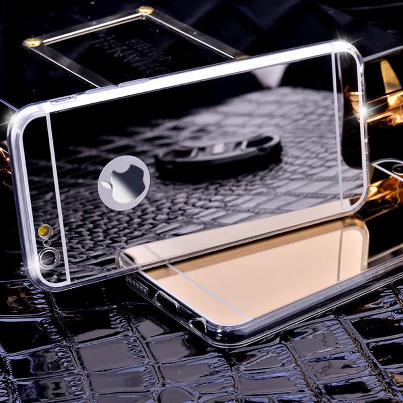 Luxury iPhone 6 6s 7 silikonový kryt se zrcadlem - Zlatá / iPhone Plus 6 6S