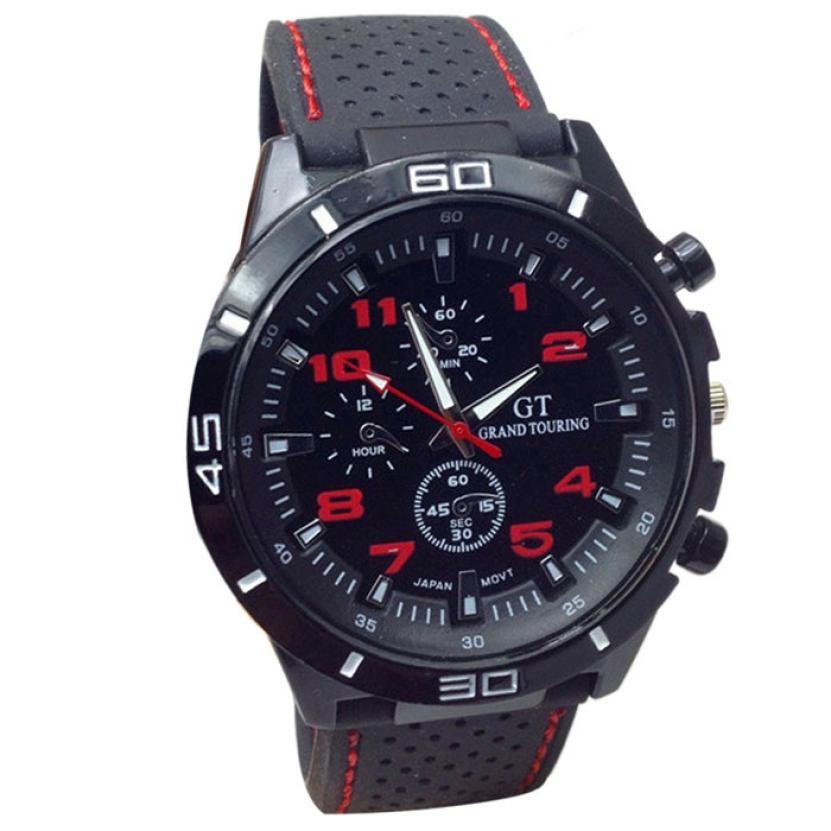 Mans Pánské hodinky gumovy reminek - Červená