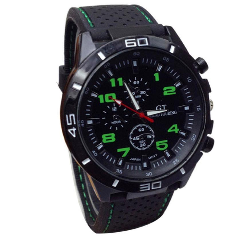Mans Pánské hodinky gumovy reminek - Zelená