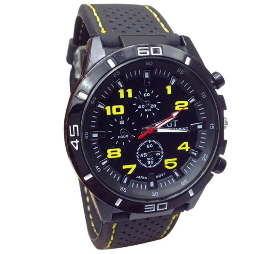 Mans Pánské hodinky gumovy reminek - Žlutá