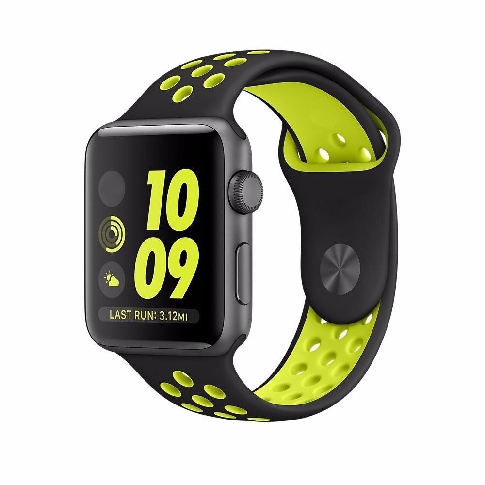 Silikonový / gumový sportovní řemínek pro Apple Watch 38 a 42mm - 38 mm / Černošedivá