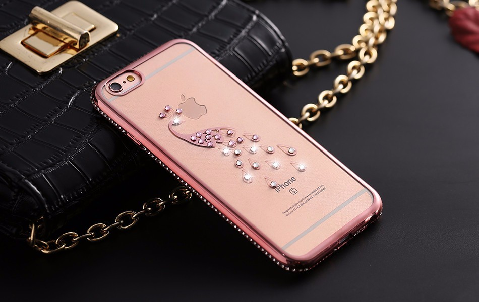 Silikonový kryt Diamond Labuťe/srdce iPhone 6 - iPhone 6 6S / Růžovo zlatá