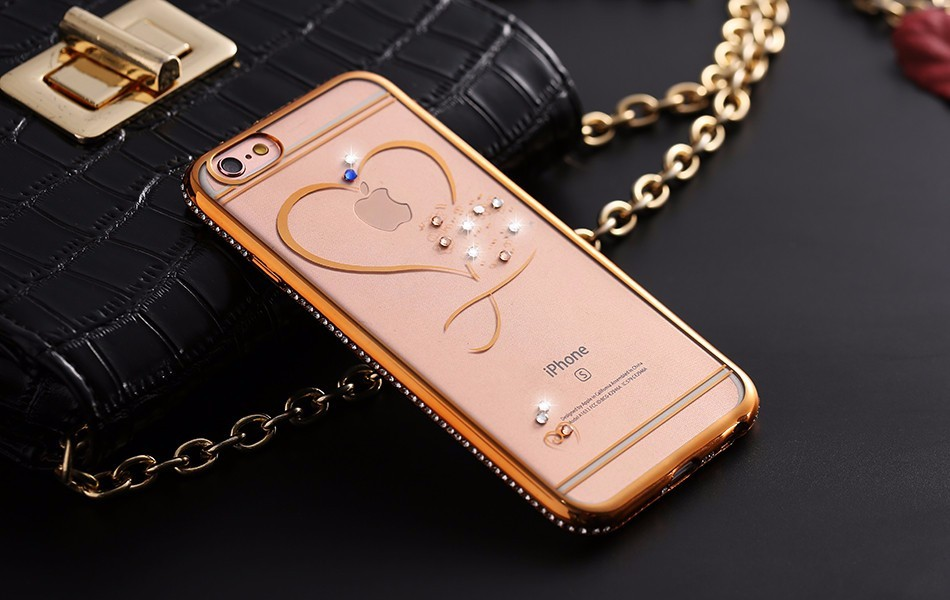 Silikonový kryt Diamond Labuťe/srdce iPhone 6 - iPhone Plus 6 6S / Zlatá