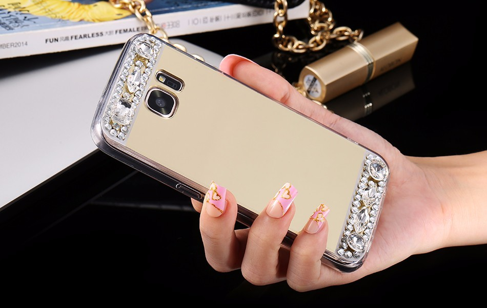 Silikonovy kryt Samsung diamant zrcadlo A3 A5 A7 - A5 / Růžová