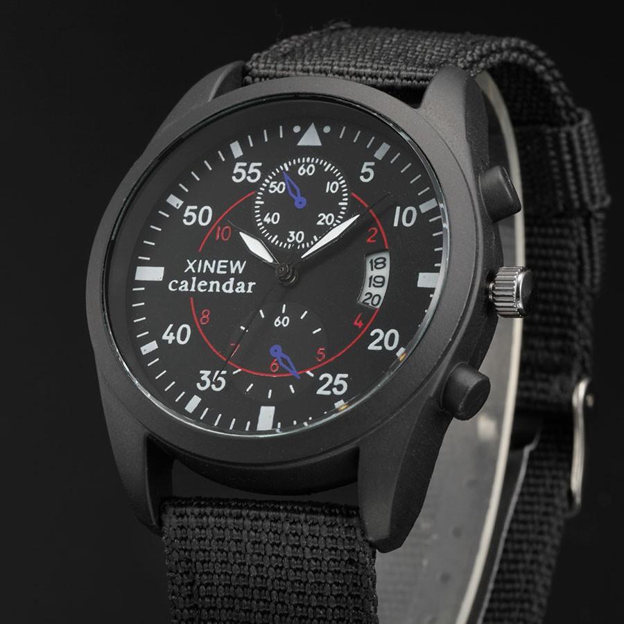 XINEW Pánské látkové sportovní hodinky s datumem - Černá