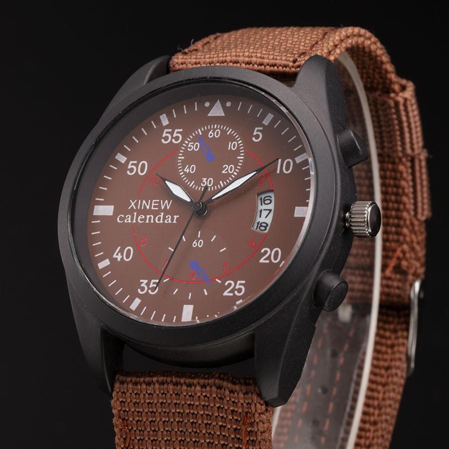 XINEW Pánské látkové sportovní hodinky s datumem - Hnědá