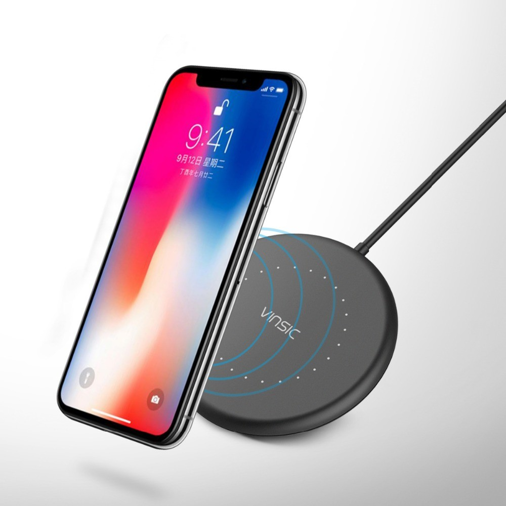 Qi VINSIC Bezdrátová nabíjecí podložka pro iPhone 8, Samsung - Černá