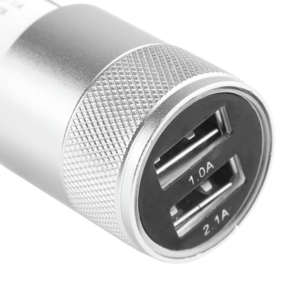 Autoadapter 2xUSB + kabel micro USB - Stříbrná