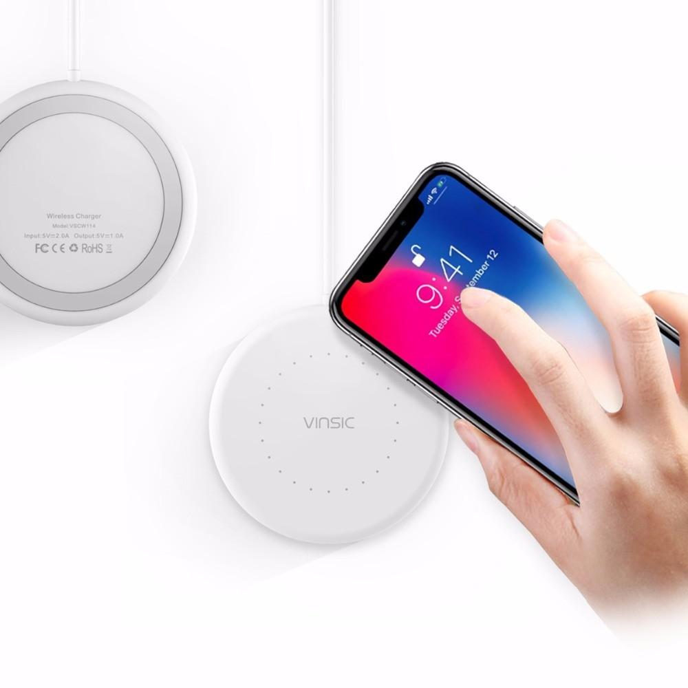 Qi VINSIC Bezdrátová nabíjecí podložka pro iPhone 8, Samsung - Bílá