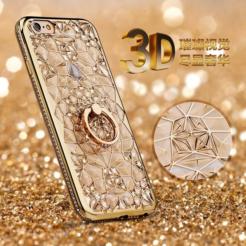 Glitter Crystal 3D Kryt na iPhone 6/6S 7/8 - Zlatá / iPhone 6 6S