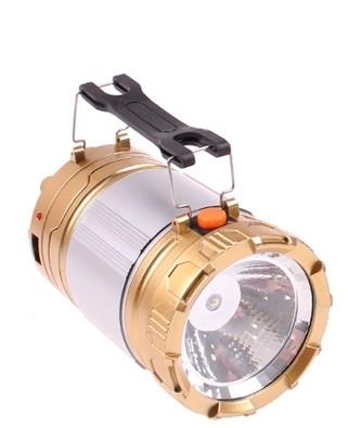 Kempingová výsuvná solární lampa 2 v 1 + baterka KT-611 - Zlatá