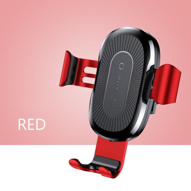 Baseus Držák do auta s bezdrátovým nabíjením Qi pro iPhone X Samsung S 9 - Červená