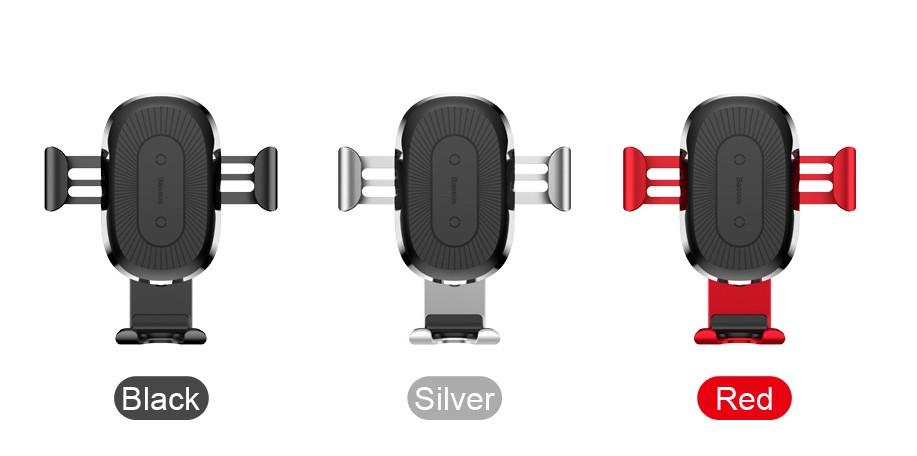 Baseus Držák do auta s bezdrátovým nabíjením Qi pro iPhone X Samsung S 9 - Stříbrná