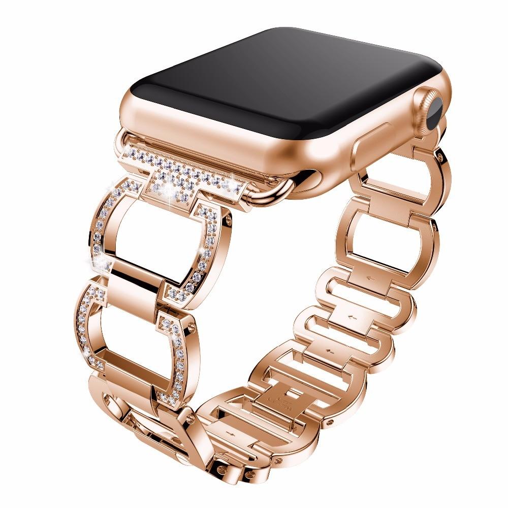 Dámský Luxusní Kovový řemínek Apple Watch - 4 serie 44 mm / Růžovozlatá